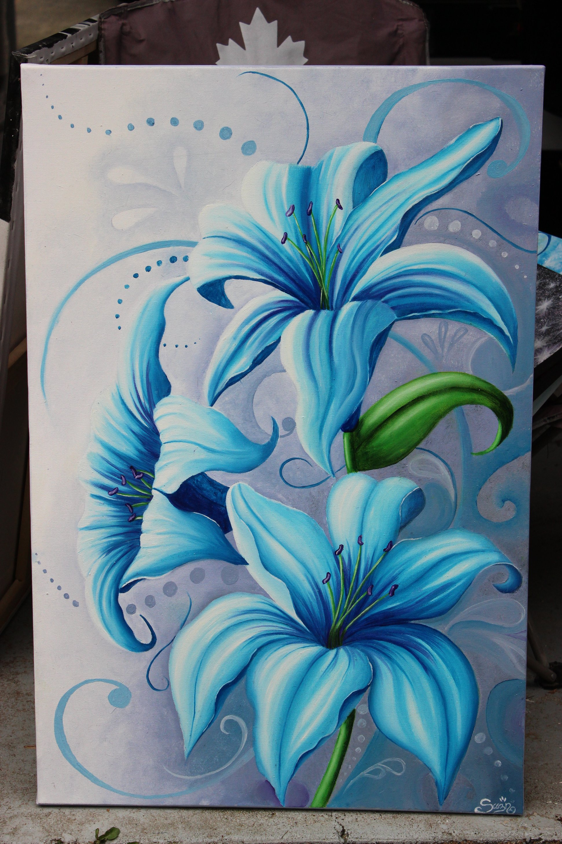 Nature and flowers suzann art blue lilies izmirmasajfo