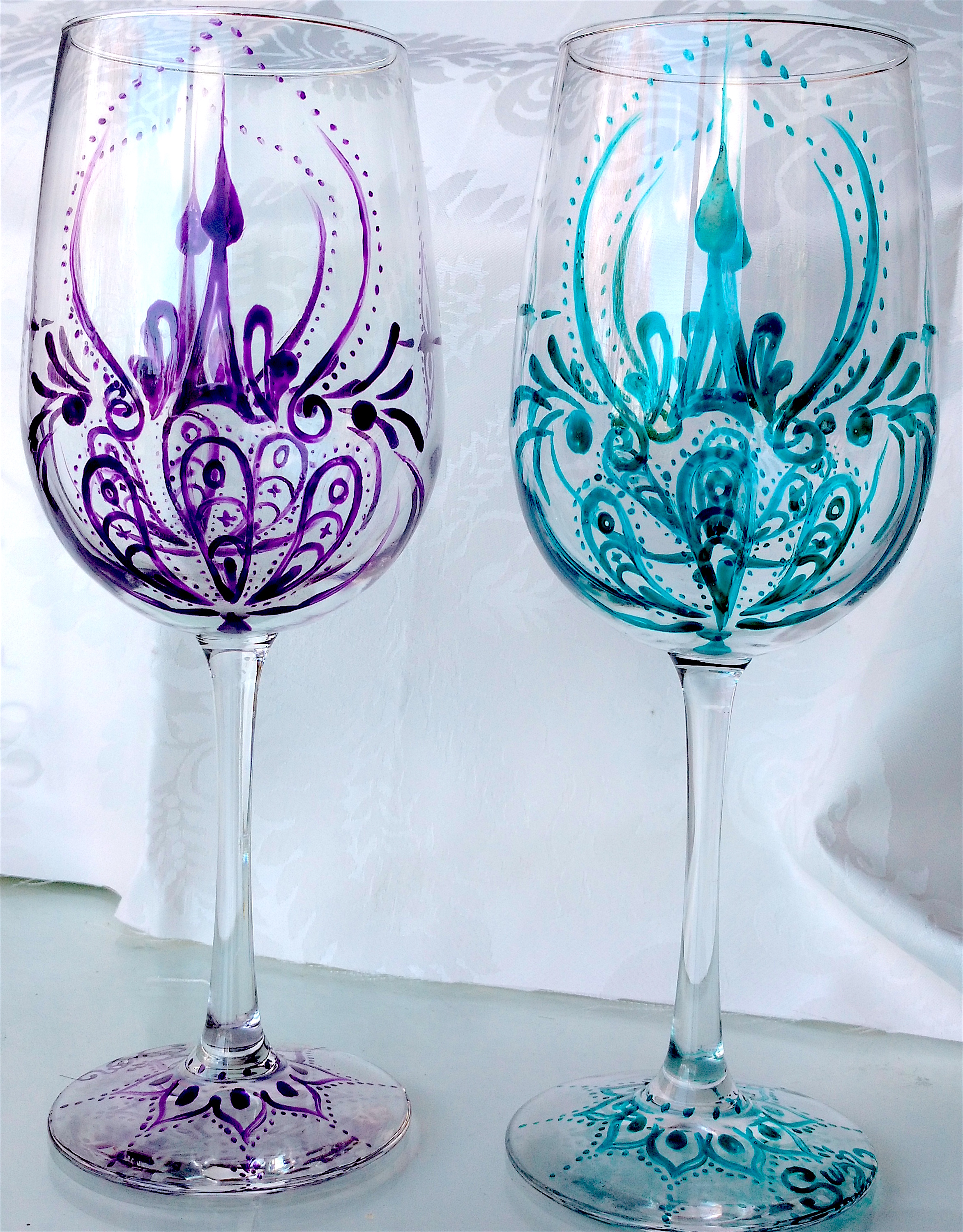 Paisley turquoise and purple wine glass