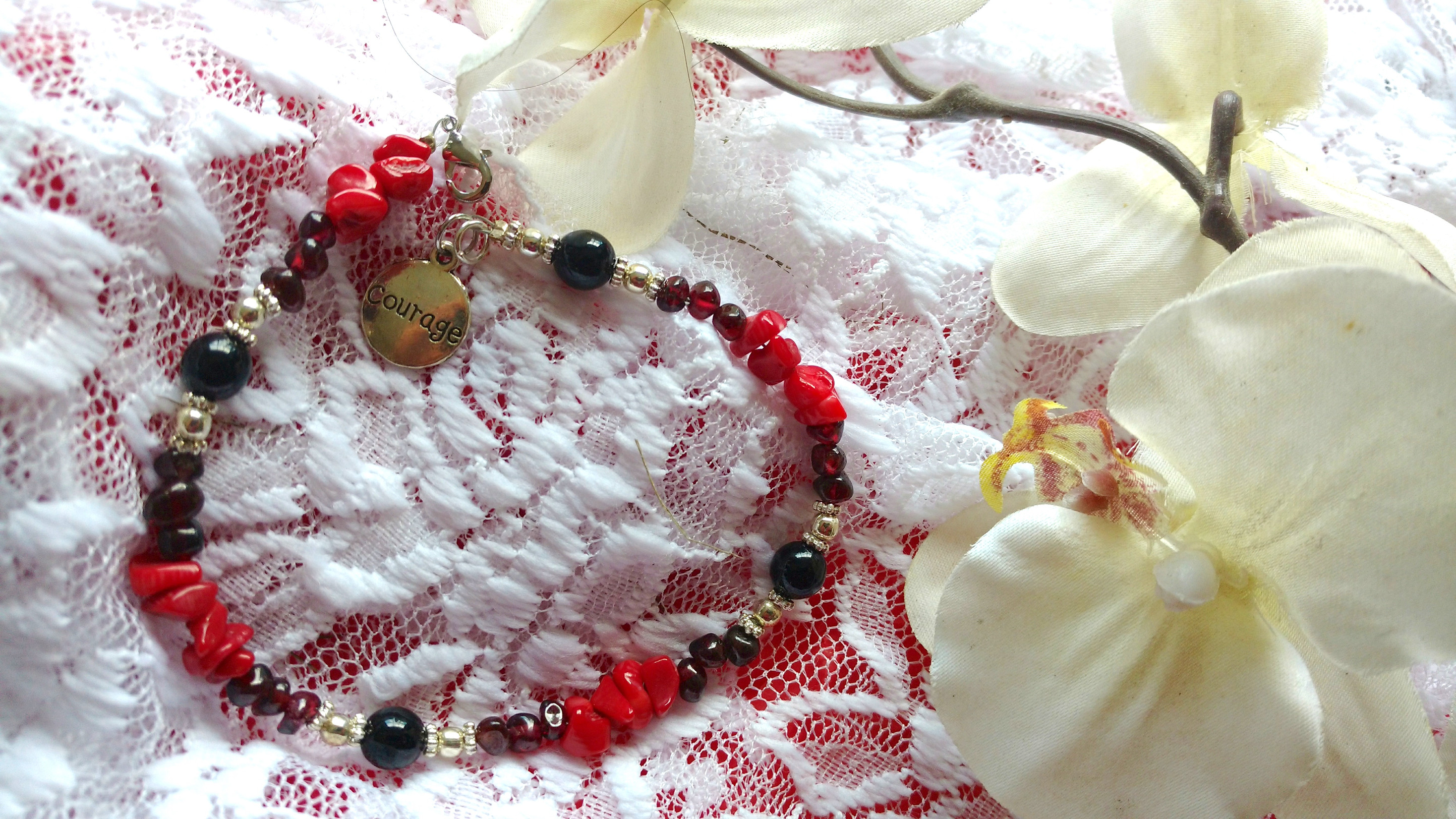 Courage anklet Red Coral Garnet Hematite for grounding and confidence